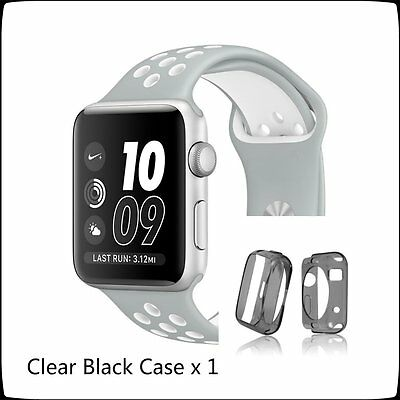 Silver White New Style Sports Silicone Strap Band Apple Watch 38mm Black Case