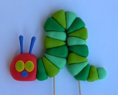 3D edible HUNGRY CATERPILLAR INSPIRED cake topper CUPCAKE DECORATIONS book icing