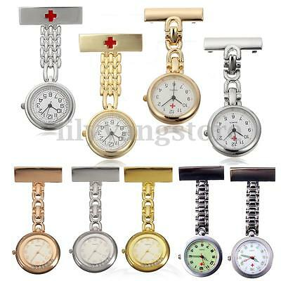 Stainless Steel Band Dial Quartz Medical Doctor Brooch Fob Nurse Pocket Watch