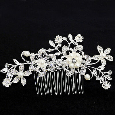 Chic Bridal Wedding Crystal Rhinestone Pearl Flower Vine Hairpin Hair Clip Comb