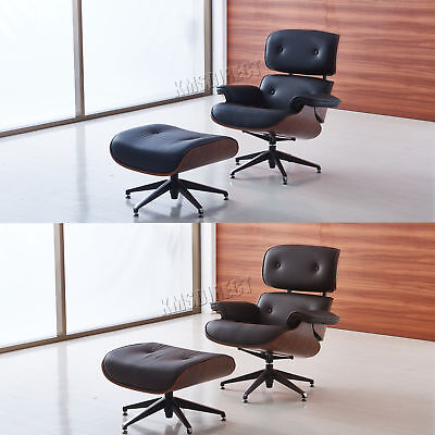 FoxHunter Luxury Lounge Chair And Ottoman Real Genuine Leather Recliner Seat New
