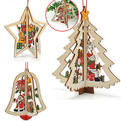 Wooden Xmas Tree Hanging Ornaments Party Decoration Merry Christmas Pendant