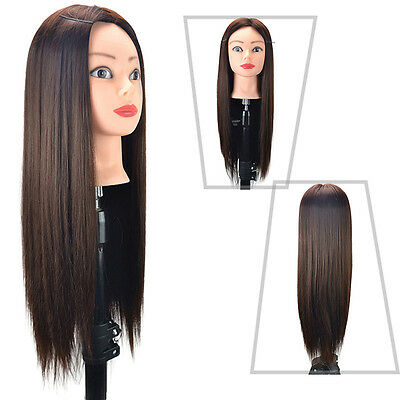 """Simulation Hair Practice Head Training Mannequin +Clamp 24"""" Hairdressing Tool"""