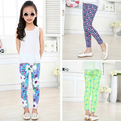 Kids Baby Girls Leggings Pants Flower Floral Printed Elastic Long Trousers 2-14Y