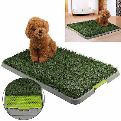 Large Indoor Dog Pet Toilet Grass Restroom Potty Training Mat Loo Pad with Tray