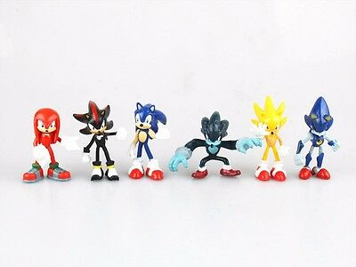 Sonic The Hedgehog Cake Topper Figure Toy Doll Gift NEW LOOSE Set of 6pcs #B US