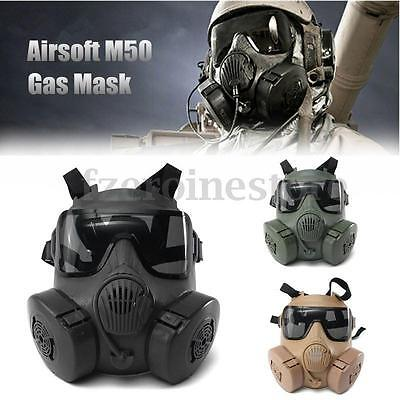 NEW Airsoft M50 Gas Mask Double Filter Fan CS Edition Perspiration Dust Face