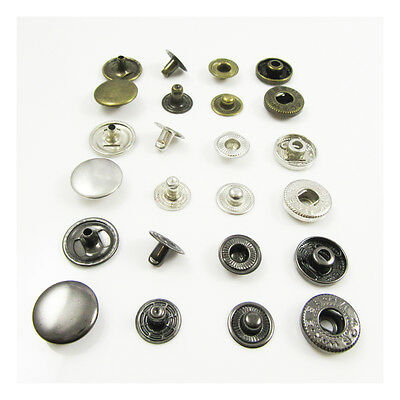 SPRING POP SNAP FASTENERS 15mm BLACK, SILVER or ANTIQUE BRASS STUD LEATHERCRAFT