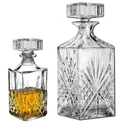 1L Crystal Decanter Whisky Sherry Liquer Cut Glass Drinks Brandy Jar Set