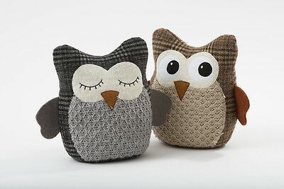Cute Grey / Brown Fabric Tweed Tartan Owl Door Stop Stopper Animal Home Gift
