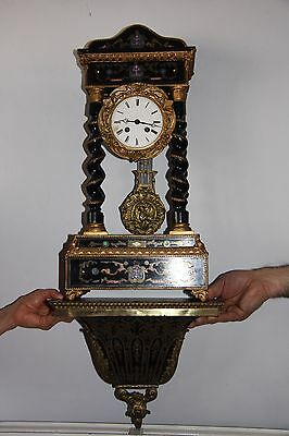 """Antique 19th century French Ebonised Portico Clock overall Height 32"""""""