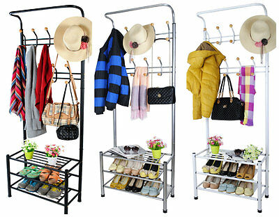 Metal Hat and Coat Stand Clothes Shoes Steel Pipe Stands Rack Hanger Hooks Shelf