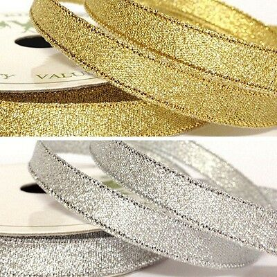 10mm x 5 Metres Metallic Glitter Sparkle Gold or Silver Craft Occasion Ribbon