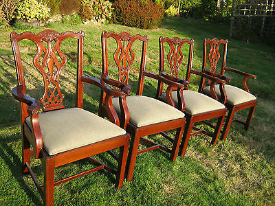 Mahogany Armchairs (Carvers) - Chippendale Style - set of Four - Victorian