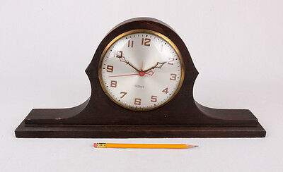 """Vintage Gilbert Mantle Clock, WORKS, Wood, 17""""x8"""", Original Stain and Parts"""