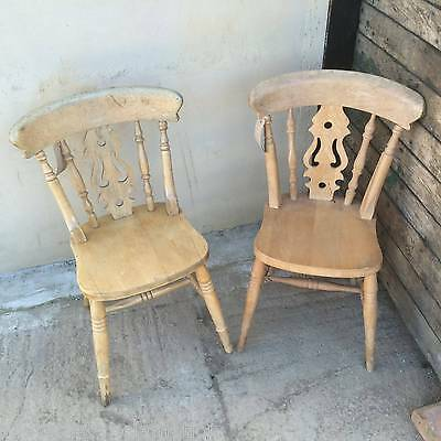 Pair Of Beech Fiddle Back Chairs TLC