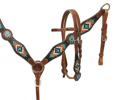 Showman TURQUOISE Navajo Embroidered Headstall/Breast Collar Set! NEW HORSE TACK