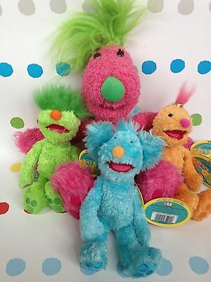 Authentic Genuine Jim Henson's 2001 The Hoobs Soft Beanie Toy With Tags X 4