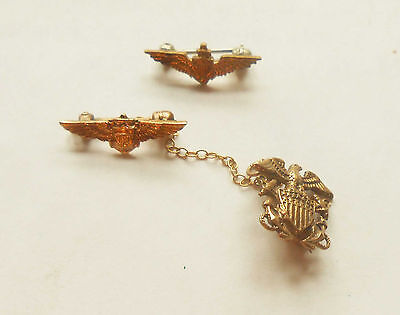 Original WW2 US Navy Sweetheart Wings 1 is marked 10K Gold Excellent condition!