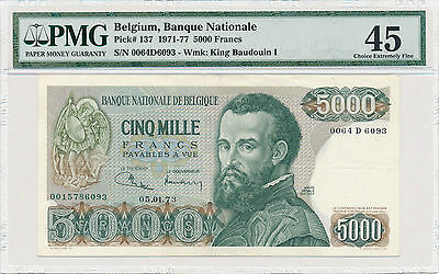 Belgium 5000 Francs 1971-77 Pick# 137 - PMG 45 Choice Extremely Fine
