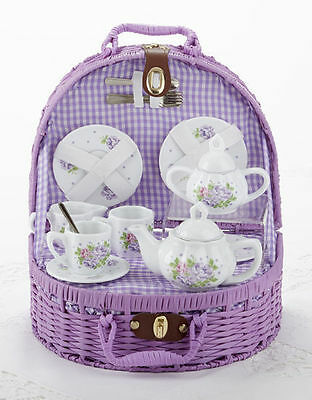 Delton Children's Porcelain Tea Set for 2 in Wicker Basket HYDRANGEA