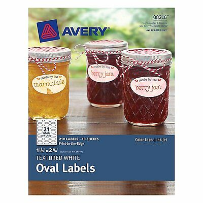 Avery Textured Oval Labels, White, 1.125 x 2.25 Inches, Pack of 210  8216