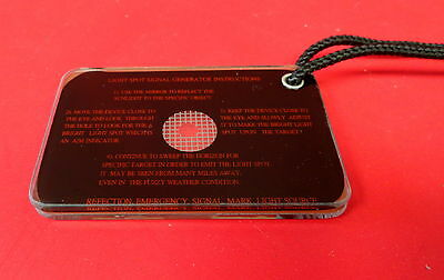"Pilot Survival Mirror Rare 2"" X 3"" Size With Lanyard"