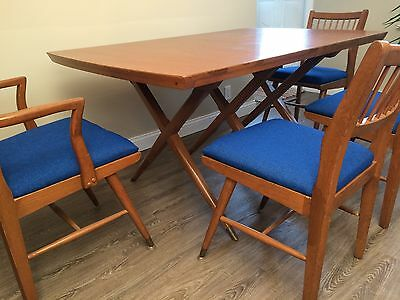 Vtg 1950s Danish Retro atomic Mid Century Modern X Cross Kitchen Table & Chairs