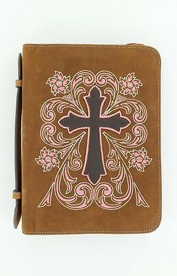 Pink Embroidery on Leather ~ Nocona COWBOY BIBLE ~ Cover Cross Large Zipper 16
