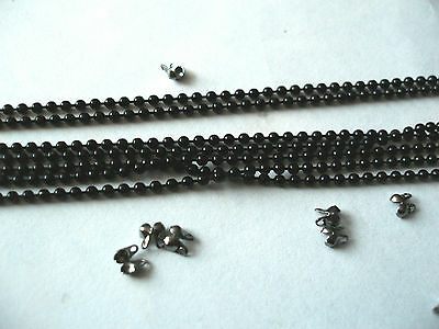 5m black coloured ball chain 2mm black coated with 10 connectors