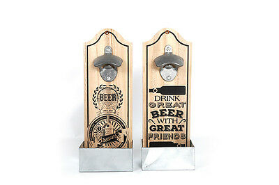 Wall Mounted Novelty Slogan Wooden Beer Bottle Opener Vintage Retro Bar Chic