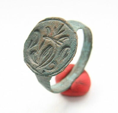 Ancient Bronze Finger Pseudo-Heraldry Seal Ring (NBR50)