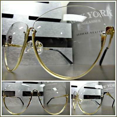 Women's CLASSIC VINTAGE RETRO Style Clear Lens EYE GLASSES Gold Fashion Frame