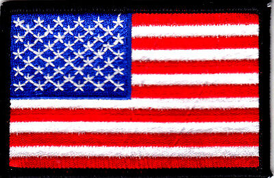 """American Flag w/Black Border 3 1/2"""" x 2 1/4"""")Patriotic Iron On Embroidered Patch"""