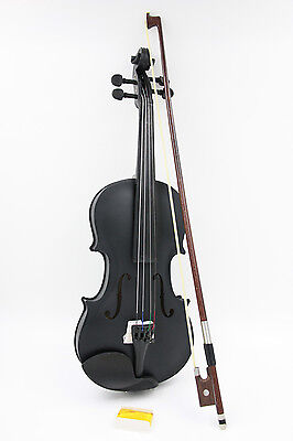 Student Black Solid Wood  Violin  with hard Case Bow Rosin for beginners