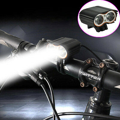 5000LM 2x XM-L T6 LED USB Waterproof Lamp Bike Bicycle Front Torches Headlight