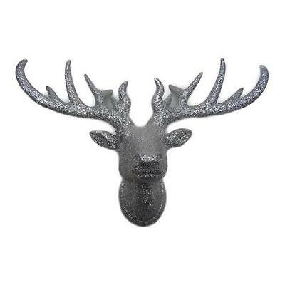"""Holiday Time Christmas Decor Glittered Reindeer Head Decoration, 9.5"""""""