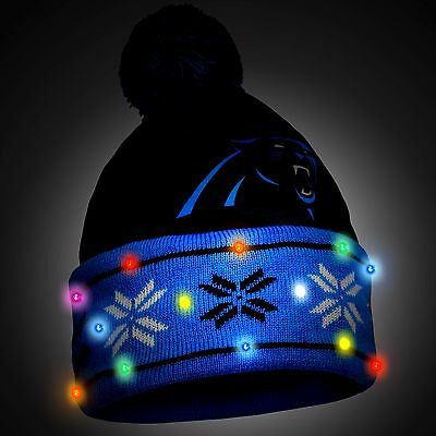 Carolina Panthers Big Logo Light Up Printed Beanie Winter Hat Toque Cuffed Pom