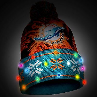 Miami Dolphins Big Logo Light Up Printed Beanie Winter Hat Toque Cuffed Pom New