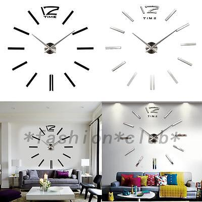 New Large Wall Clock 3D Mirror Sticker Big Watch Home Decor Unique Gift DIY