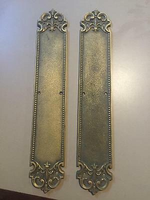 Lot 2 VINTAGE DOOR BRASS PLATES HARDWARE ITALY CARVING #5550 Antique Rare