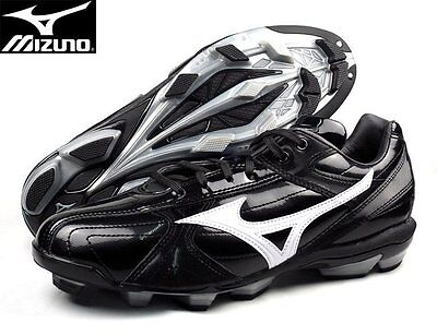 MIZUNO Baseball Cleats Shoes Spikes Plastic Nails Shoelaces Black US Size 9-11