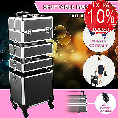 7 in 1 Portable Cosmetics Makeup Case Organizer Carry Bag Luggage Trolley Black