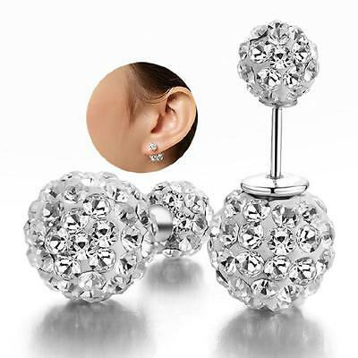 Women Silver plated Double Crystal Ball Ear stud Earrings Jewelry UK Sliver