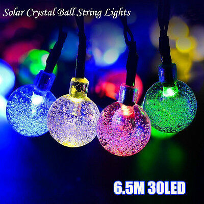30LED 6.5M Solar Crystal ball String Lights Christmas Wedding Party Light Decor