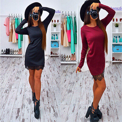 Women Bandage Bodycon Dress Long Sleeve Evening Sexy Lace Party Cocktail Dress