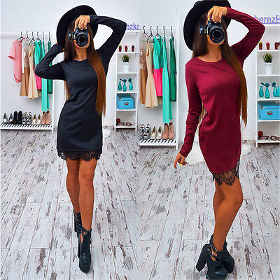 Women Bandage Bodycon Long Sleeve Evening Sexy Party Cocktail Lace Mini Dress