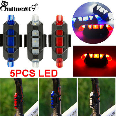 Cycling Bike Tail Light 5 LED USB Rechargeable Bicycle Warning Rear Safety LOT
