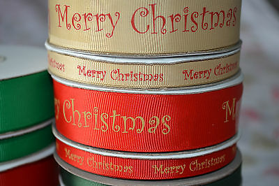 Red & Gold MERRY CHRISTMAS ribbon craft sewing scrapbooking present FULL REELS