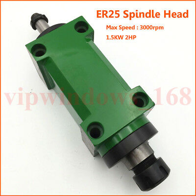 ER25 Power Head 1.5KW 2HP Spindle Power Unit 5Bearings 3000rpm Milling Tapping